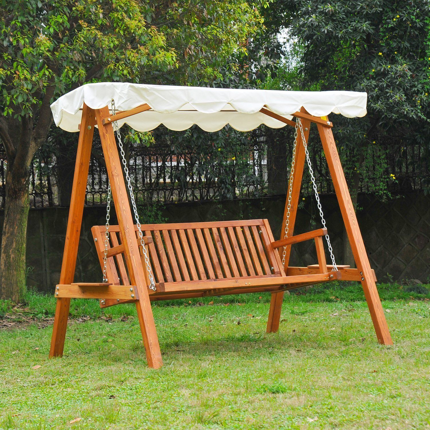 swing chair seat stackable church chairs outsunny 3 seater wooden garden bench cream mh star