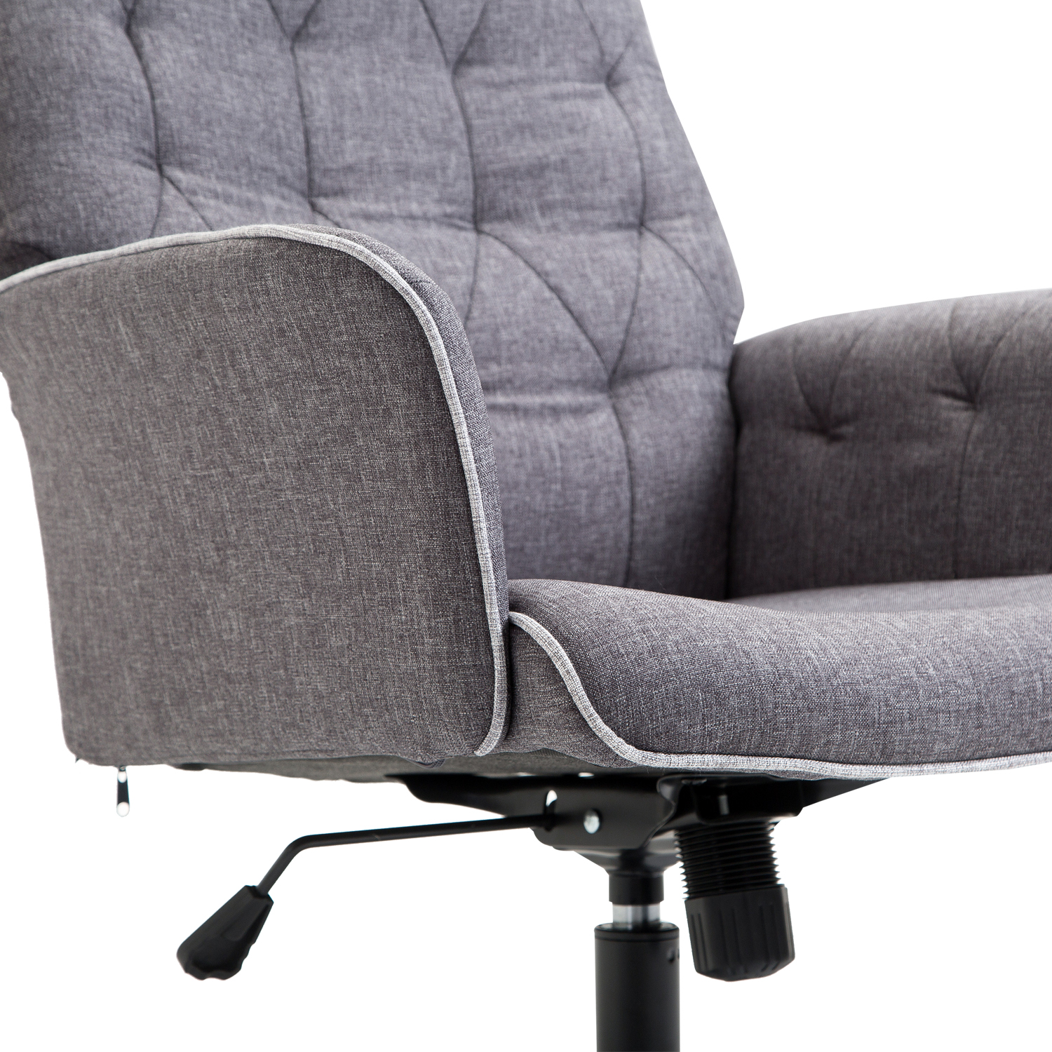 Linen Office Chair Homcom Office Chair Mid Linen Back Grey