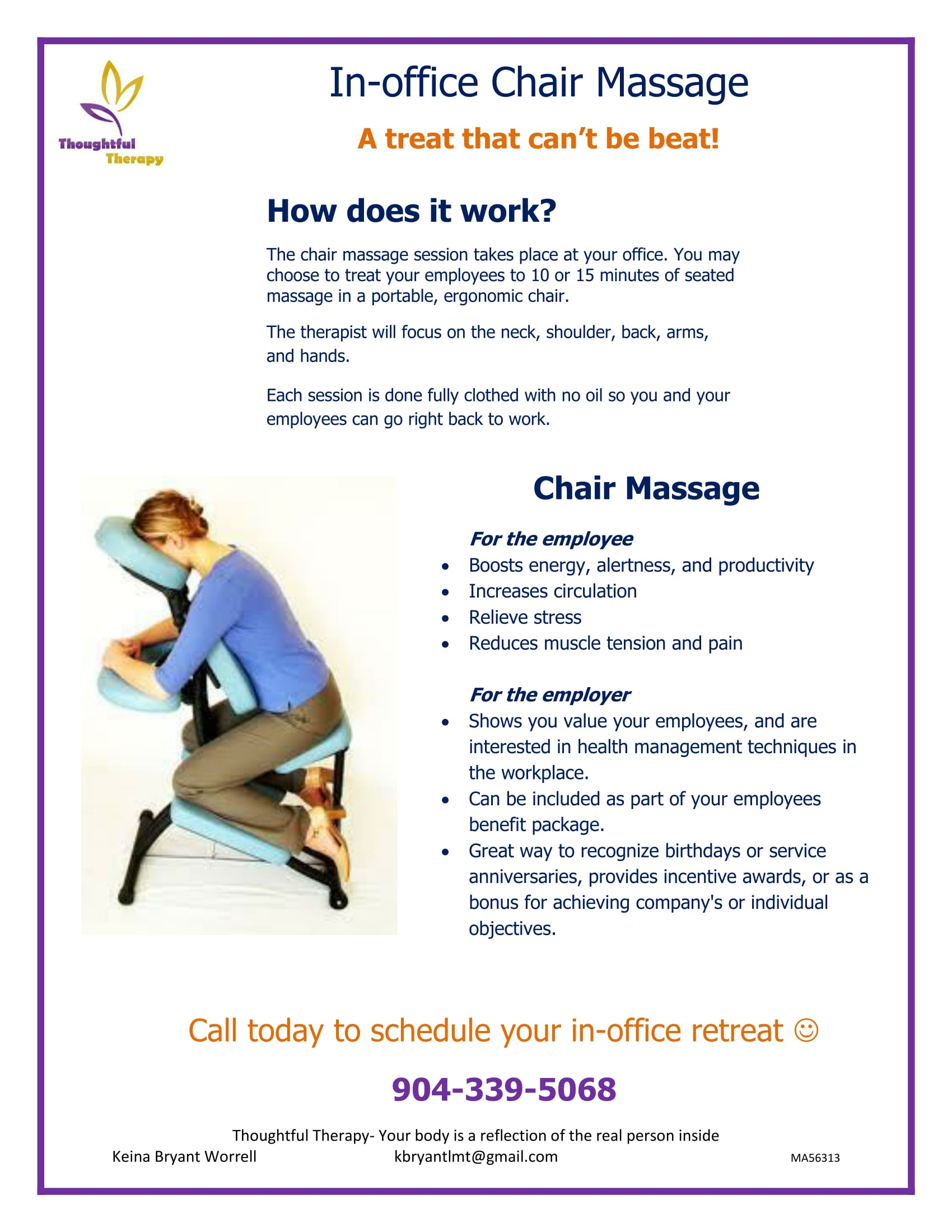 Massage Therapist Chair In Office Chair Massage Thoughtful Therapy