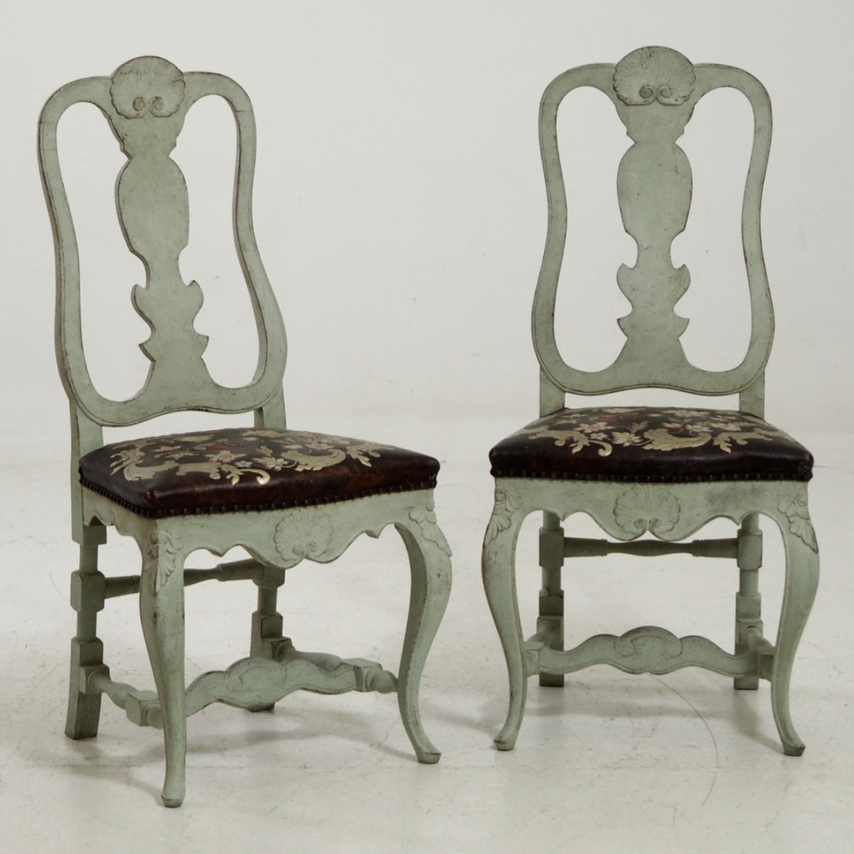 Scandinavian Chairs 13287 3d Pair Of Scandinavian Chairs With Original Guilted Leather Circa 100 Years Old