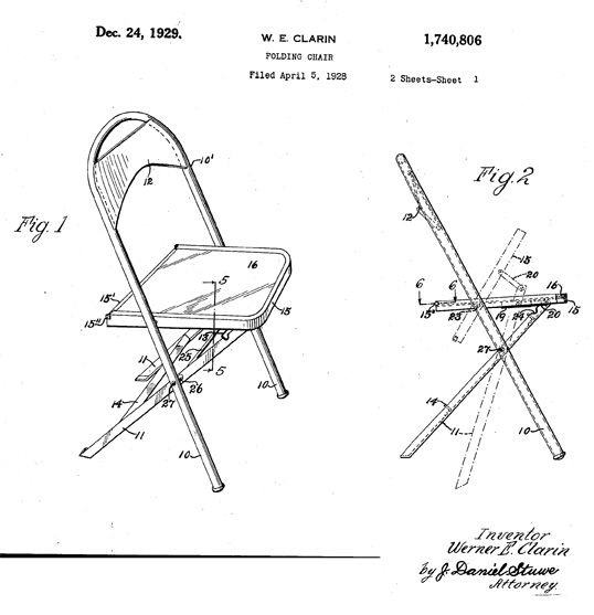 chair design patent bauhaus swivel history folding portable chairs for any venue clarin seating one of the original patents