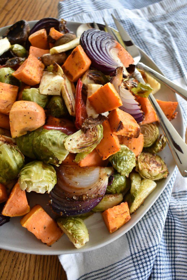 roasted vegetables on serving platter