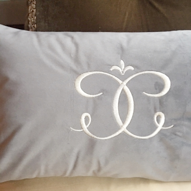 velvet lumbar pillow monogrammed
