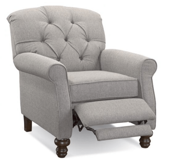reclining accent chair game rocker bogart grey tufted miller s home furnishings