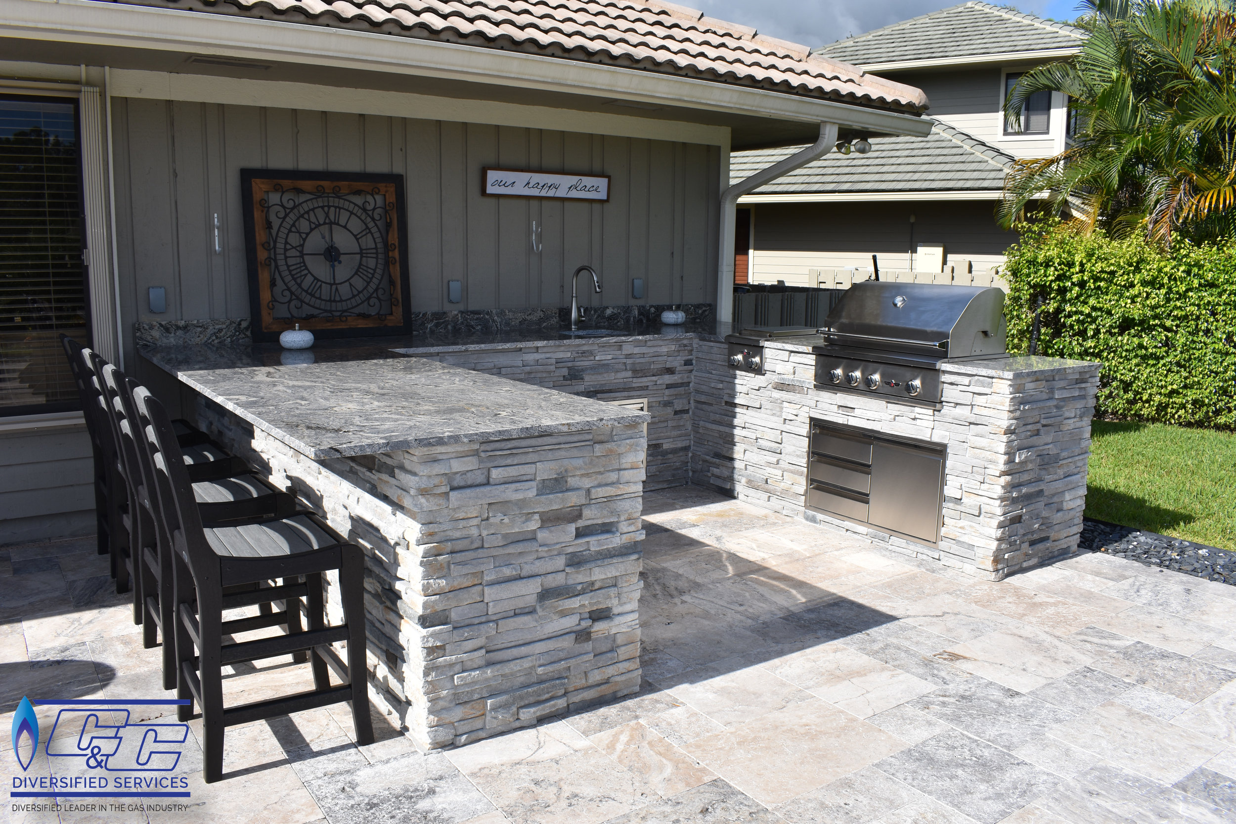 outdoor kitchen frame distressed chairs kitchens jupiter stuart and surrounding areas c custom photos welded aluminum l shaped with hardy board stacked stone finish