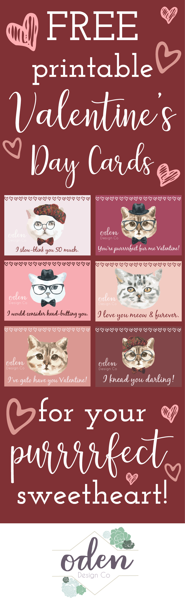 Free Printable Cat Valentine's Day Cards - Oden Design Co