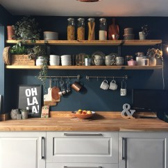 Pictures For Kitchen Walls Pedestal Table Dark Blue What S Not To Love Hornsby Style Laura Has Used Hague On Her As A Backdrop Rustic Shelves
