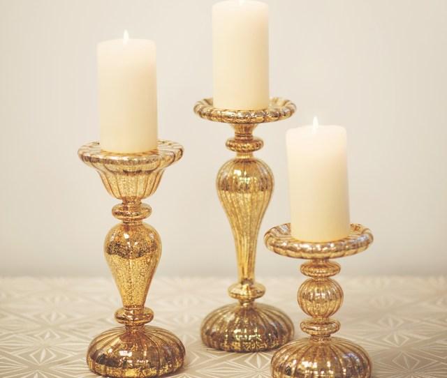 Led Gold Mercury Candle Holders