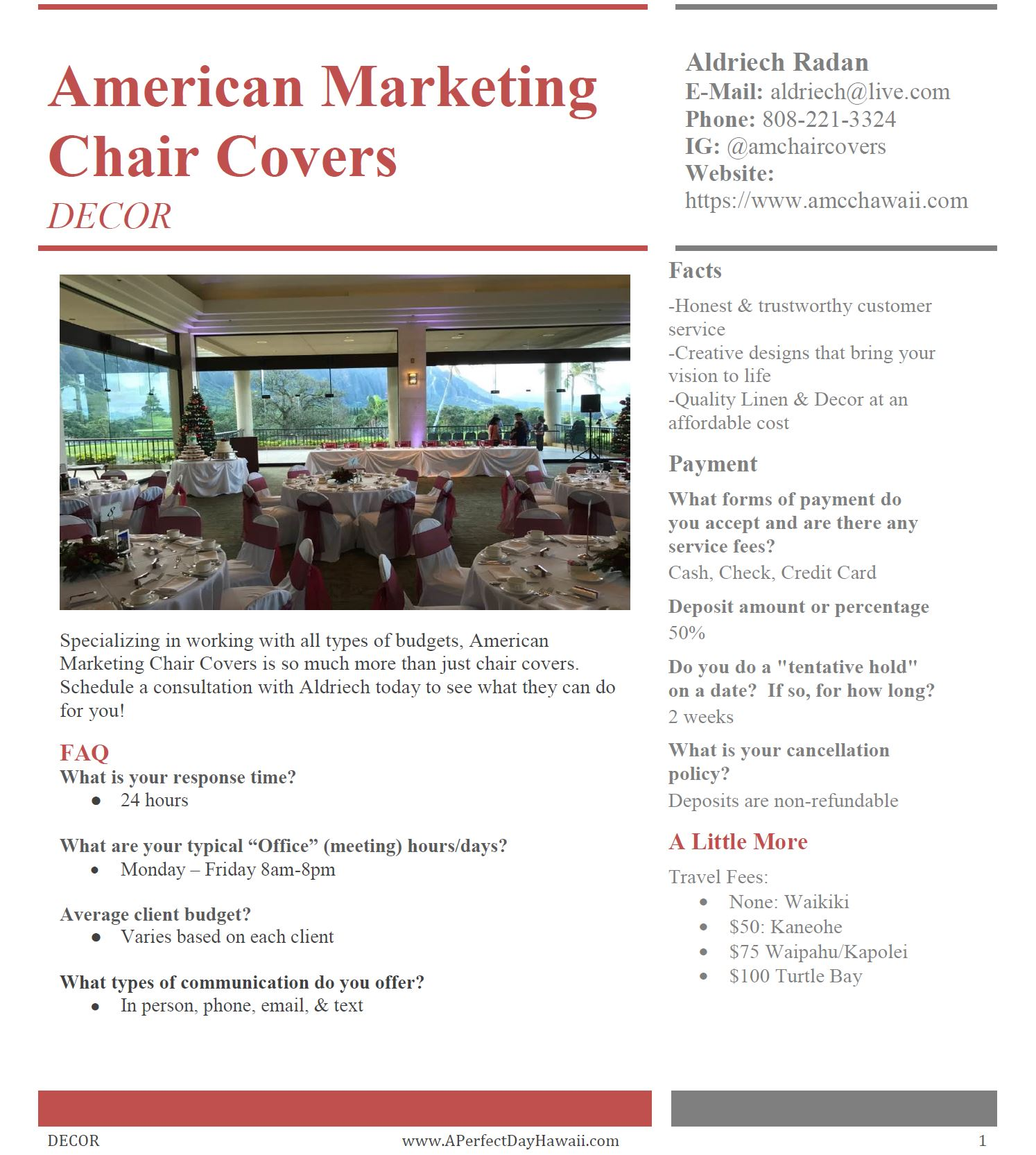 american marketing chair covers hawaii study table and decor fact sheets a perfect day 1 amcc as of 10 18 jpg