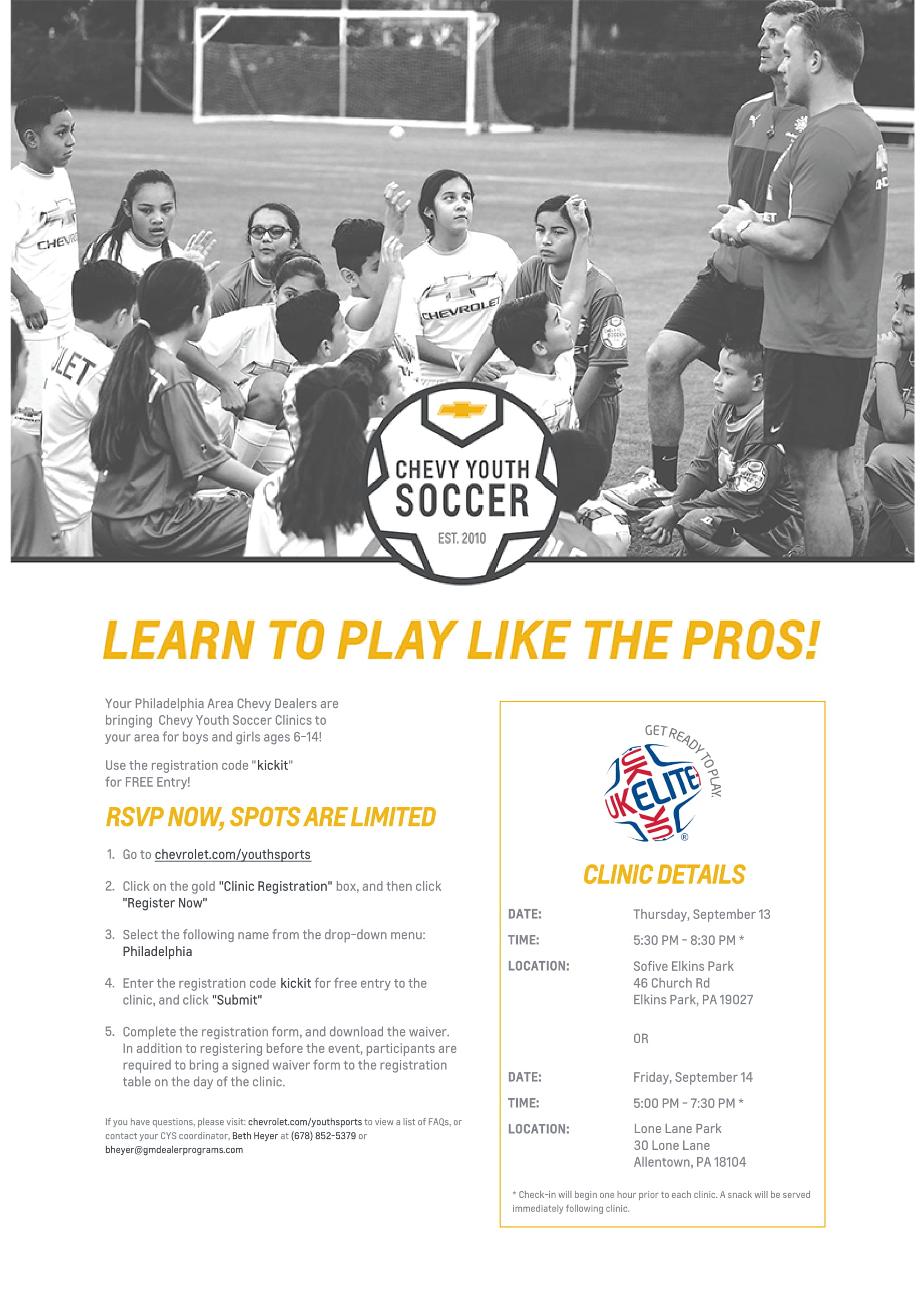 register today for a free chevy youth soccer clinic  [ 1500 x 2121 Pixel ]