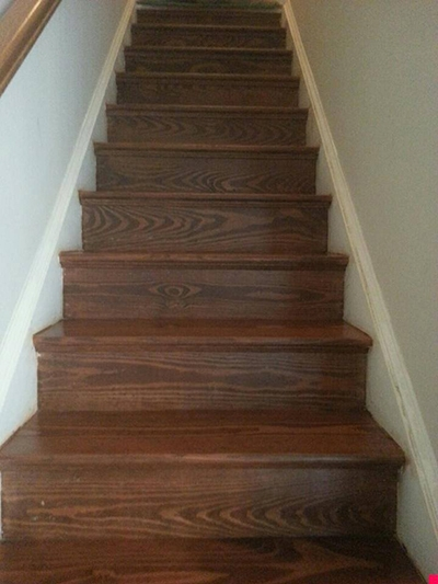 Hardwood Sanding Refinishing For Pine Stair Risers — Beers Flooring   Hardwood Steps And Risers   Brown Stair   Carpet Tread   Bullnose   Maple   Dark Wood
