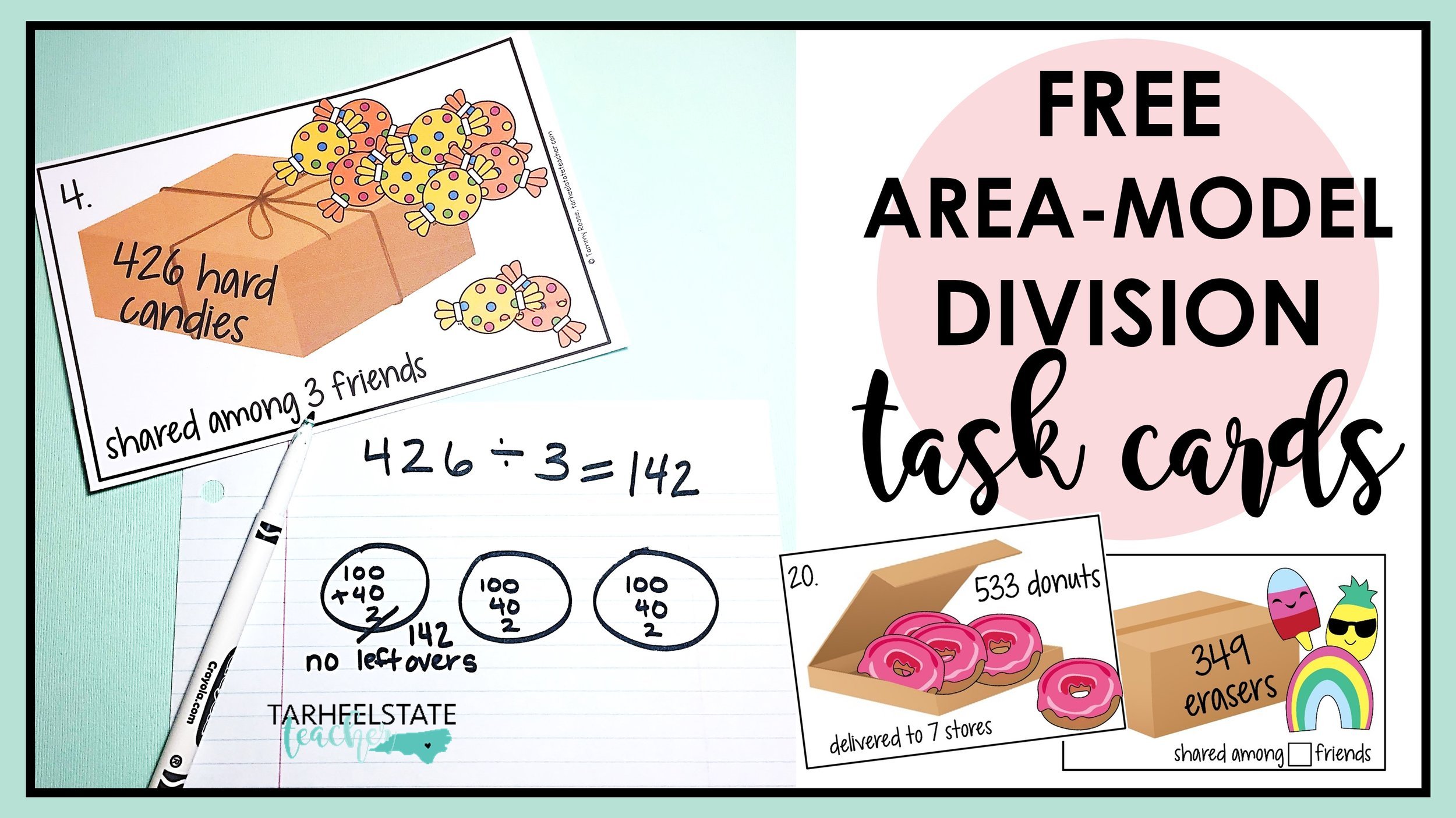 Free Area Model Division Teaching Resource — Tarheelstate Teacher [ 844 x 1500 Pixel ]