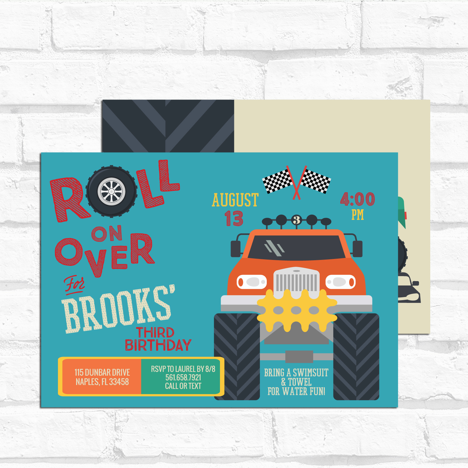 monster truck birthday invitation digital or printed option lovely little party
