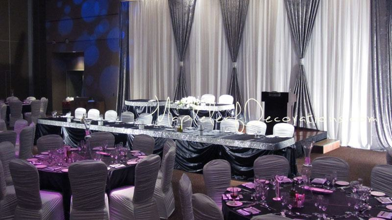 gray chair covers for weddings folding kinematic diagram the traditional reception decor package mapleleaf decorations paramount banquet hall pewter bling sparkly modern backdrop