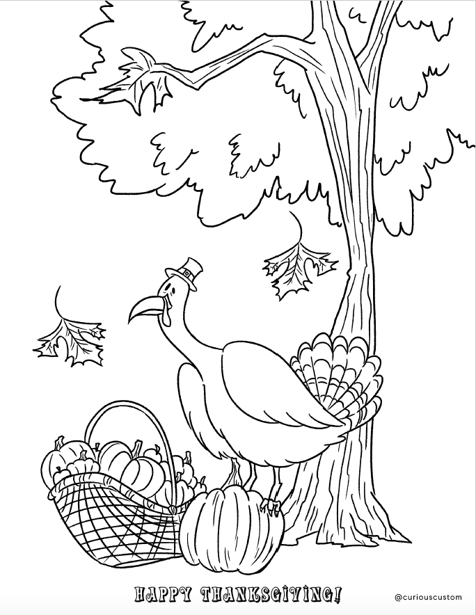 Free Thanksgiving Coloring Page Custom Coloring Books Curious Custom Made In The Usa