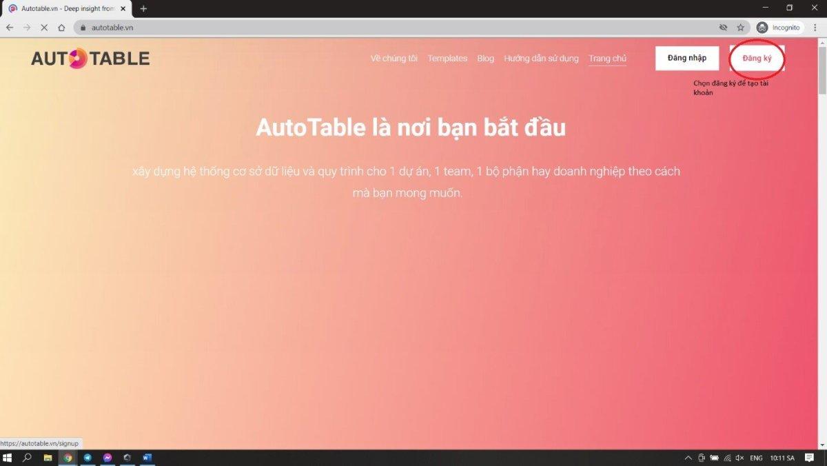 Truy cập website www.Autotable.vn để bắt đầu đăng kí tài khoản