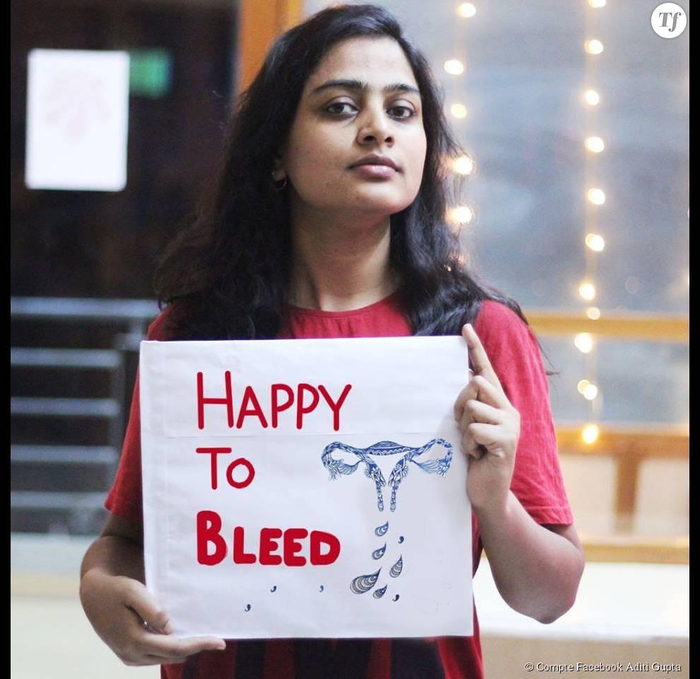 Une femme soutient la campagne #HappyToBleed