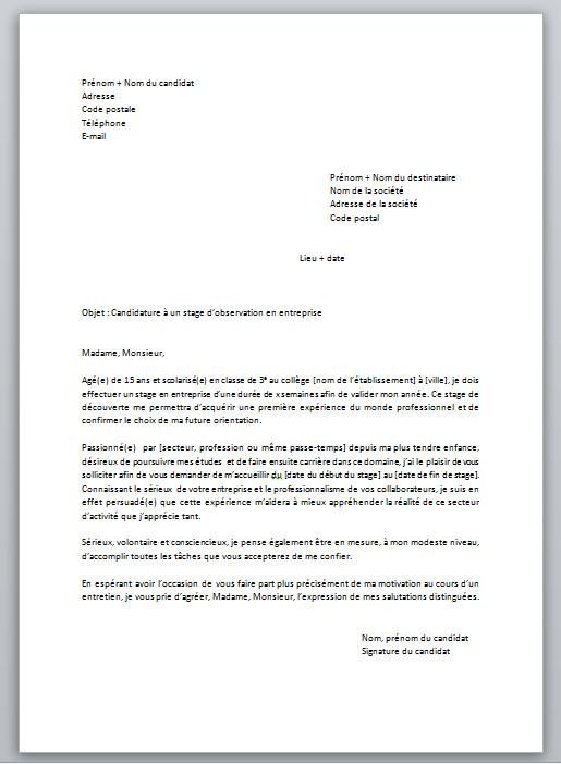 image lettre de motivation pour un stage dobservation lettre de presentation