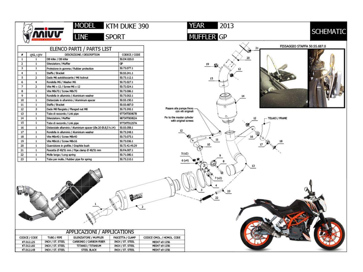 KT.012.L6S SCARICO COMPLETO 1X1 MIVV GP TITANIO KTM 390