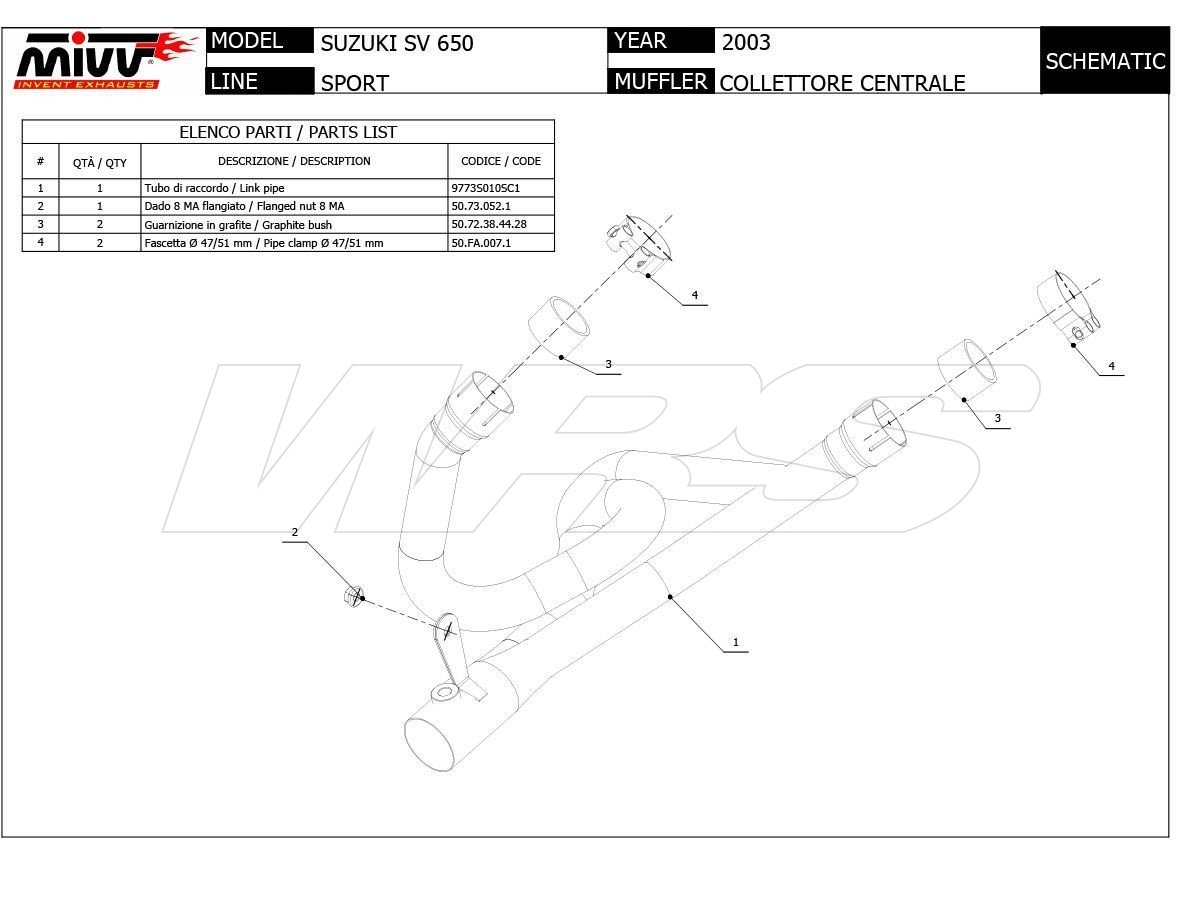 S.010.C1 COLLETTORE MIVV INOX SUZUKI SV 650 2003-2003