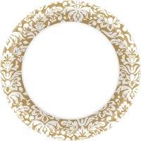 Gold Damask Dinner Plates (40ct) - Ziggos.com