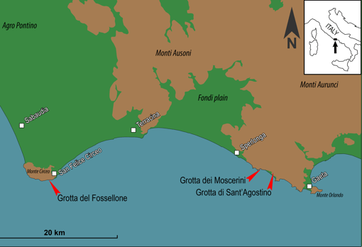 Map showing the location of Grotta dei Moscerini