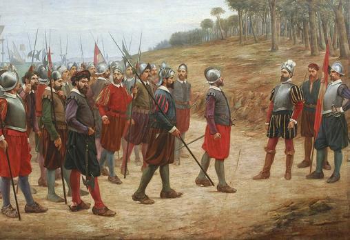 Los trece de la isla del Gallo, pintura de Juan Lepiani (1902)