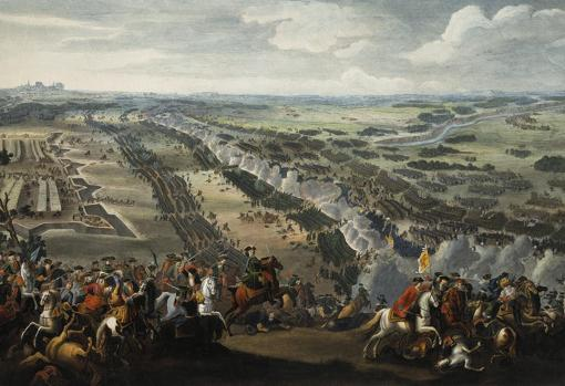 The Battle of Poltava by Denis Martens the Younger, painted in 1726