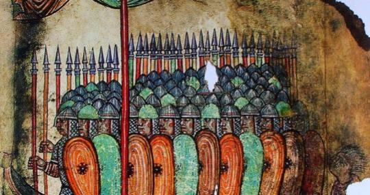 Painting of a Viking attack on a French badia.