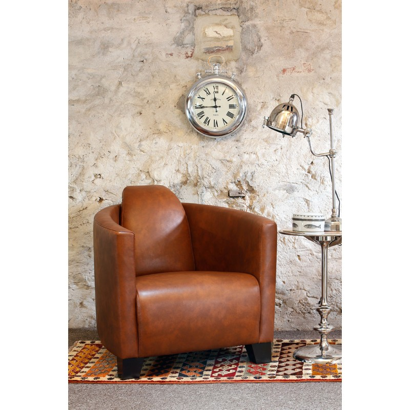 large tub chair swivel manufacturers chairs uk contemporary armchairs living room furniture leather in a light brown brando style with curving arms and loading zoom