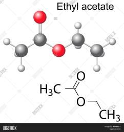structural chemical formula and model of ethyl acetate [ 1500 x 1620 Pixel ]
