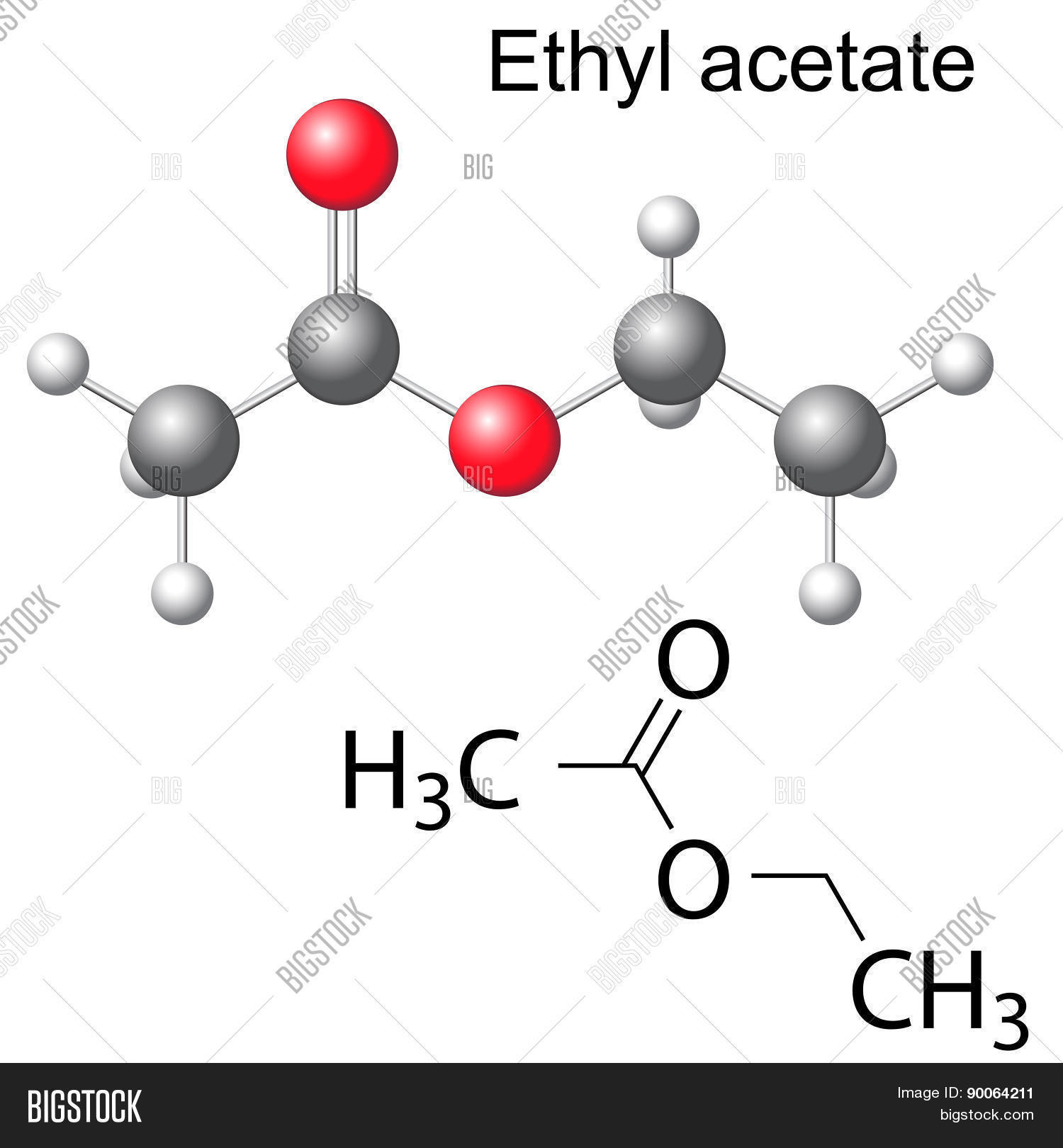 hight resolution of structural chemical formula and model of ethyl acetate
