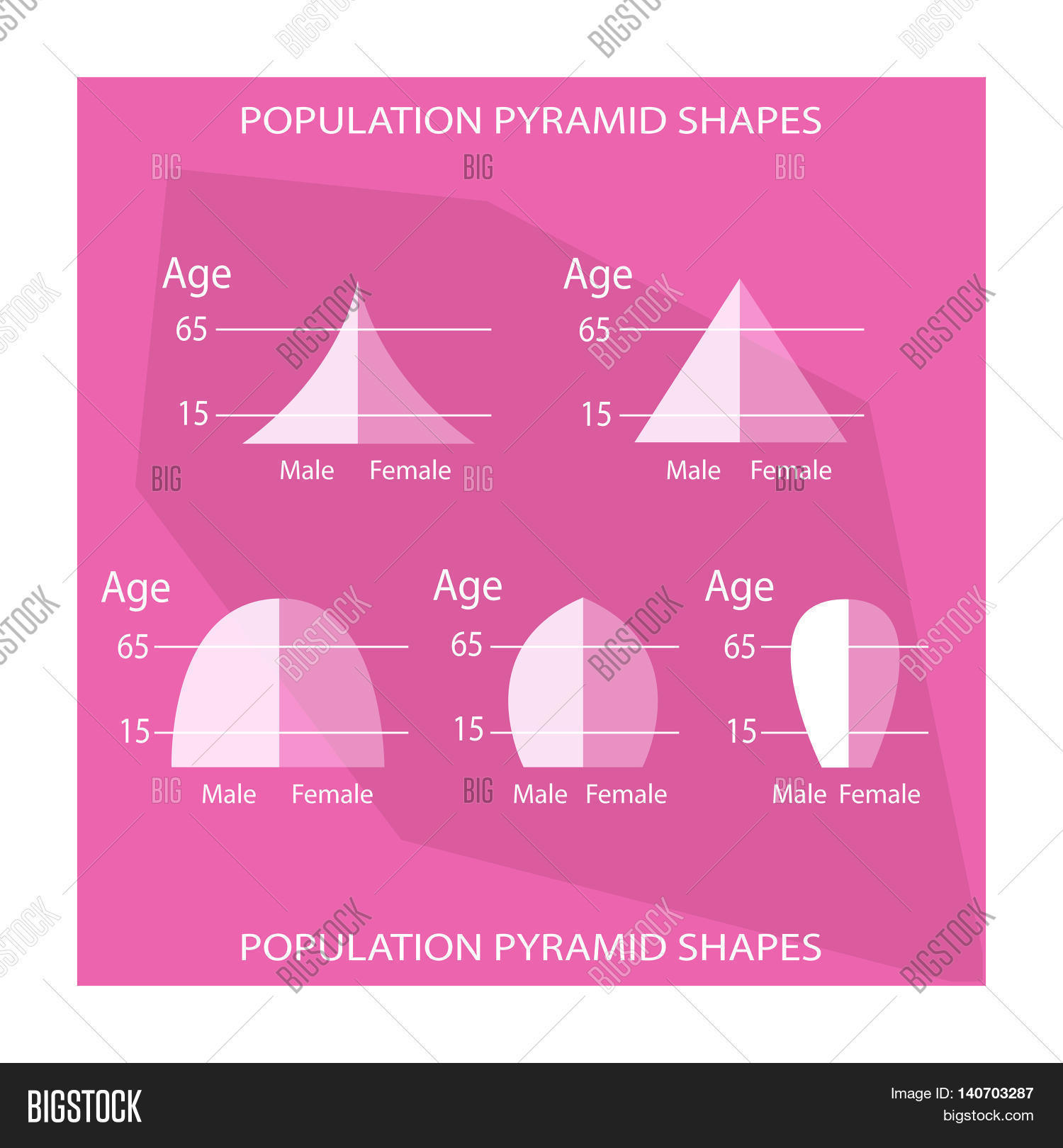 hight resolution of population and demography illustration set of 5 types of population pyramids chart or age structure graph