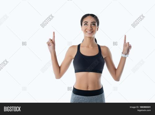 small resolution of healthy sporty girl holding arms bent in elbow pointing upwards