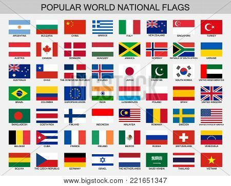 world national flags vector
