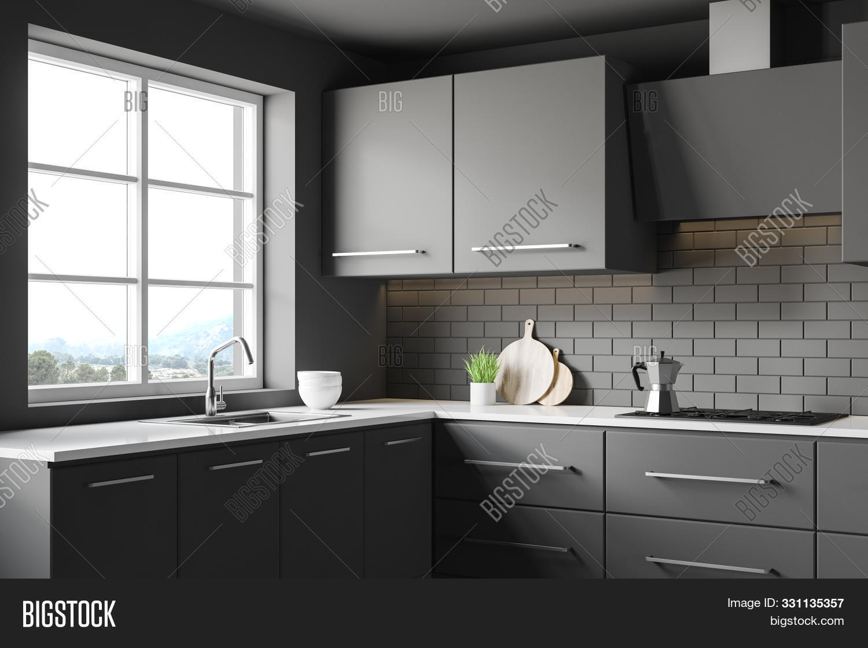 Dark Grey Kitchen Image Photo Free Trial Bigstock