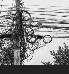 potential danger from a mess of wires at thailand electric pole with electric wire tangled very messy electricity or telephone pole  [ 1500 x 964 Pixel ]