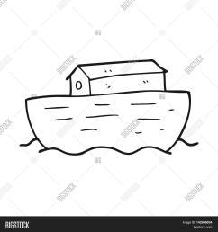 freehand drawn black and white cartoon noah s ark [ 1500 x 1620 Pixel ]