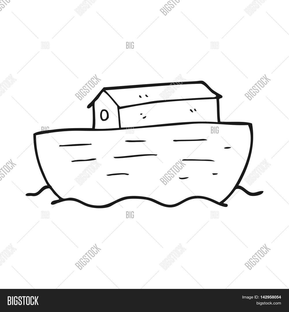 medium resolution of freehand drawn black and white cartoon noah s ark