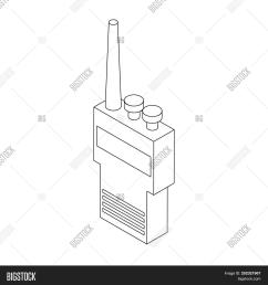 portable handheld radio icon in isometric 3d style on a white background [ 1500 x 1620 Pixel ]