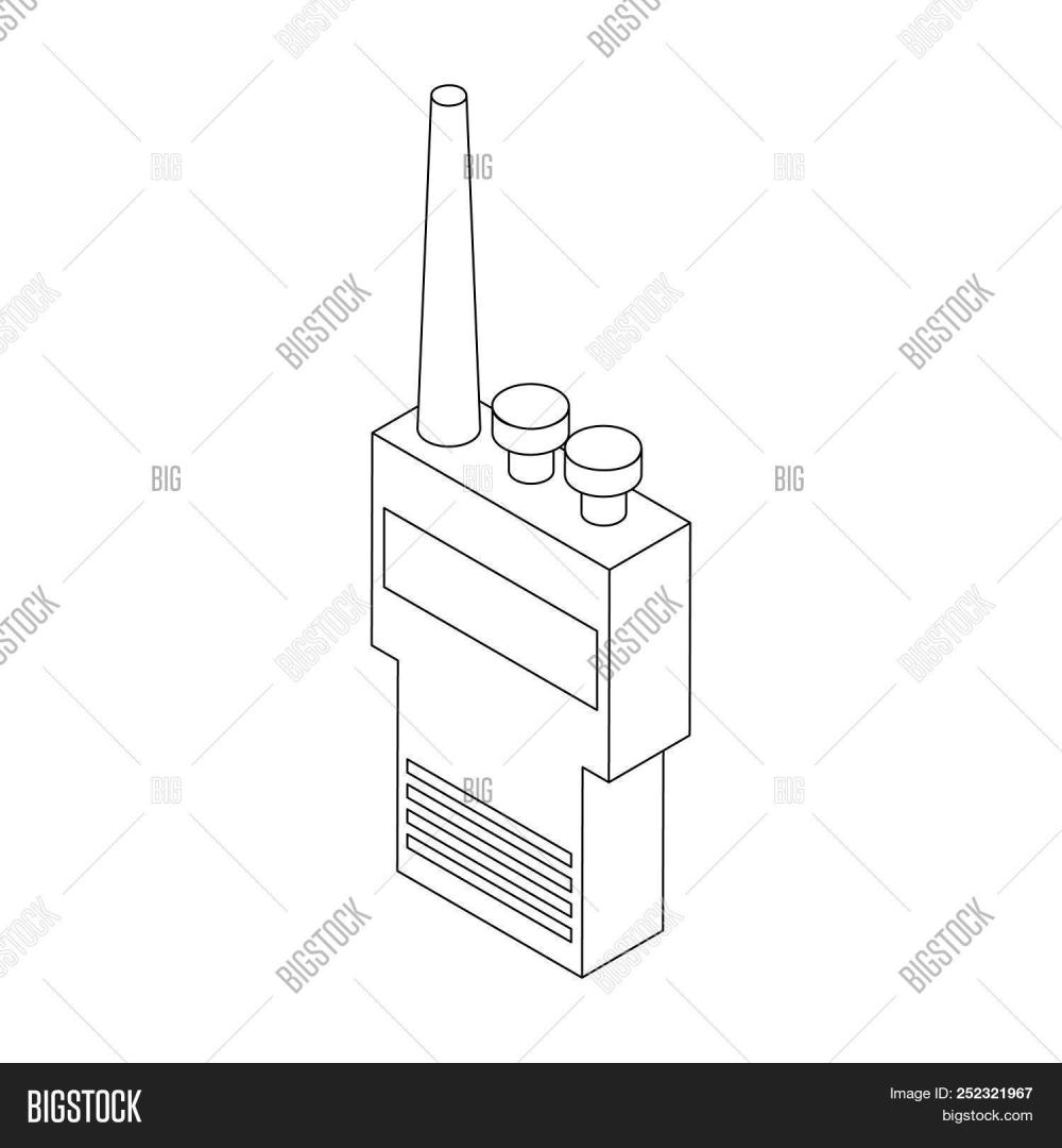 medium resolution of portable handheld radio icon in isometric 3d style on a white background