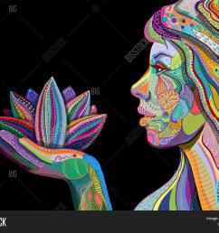 woman face with multicolored indian pattern holding lotus flower side view digital painting jpg 1500x1242 black [ 1500 x 1242 Pixel ]