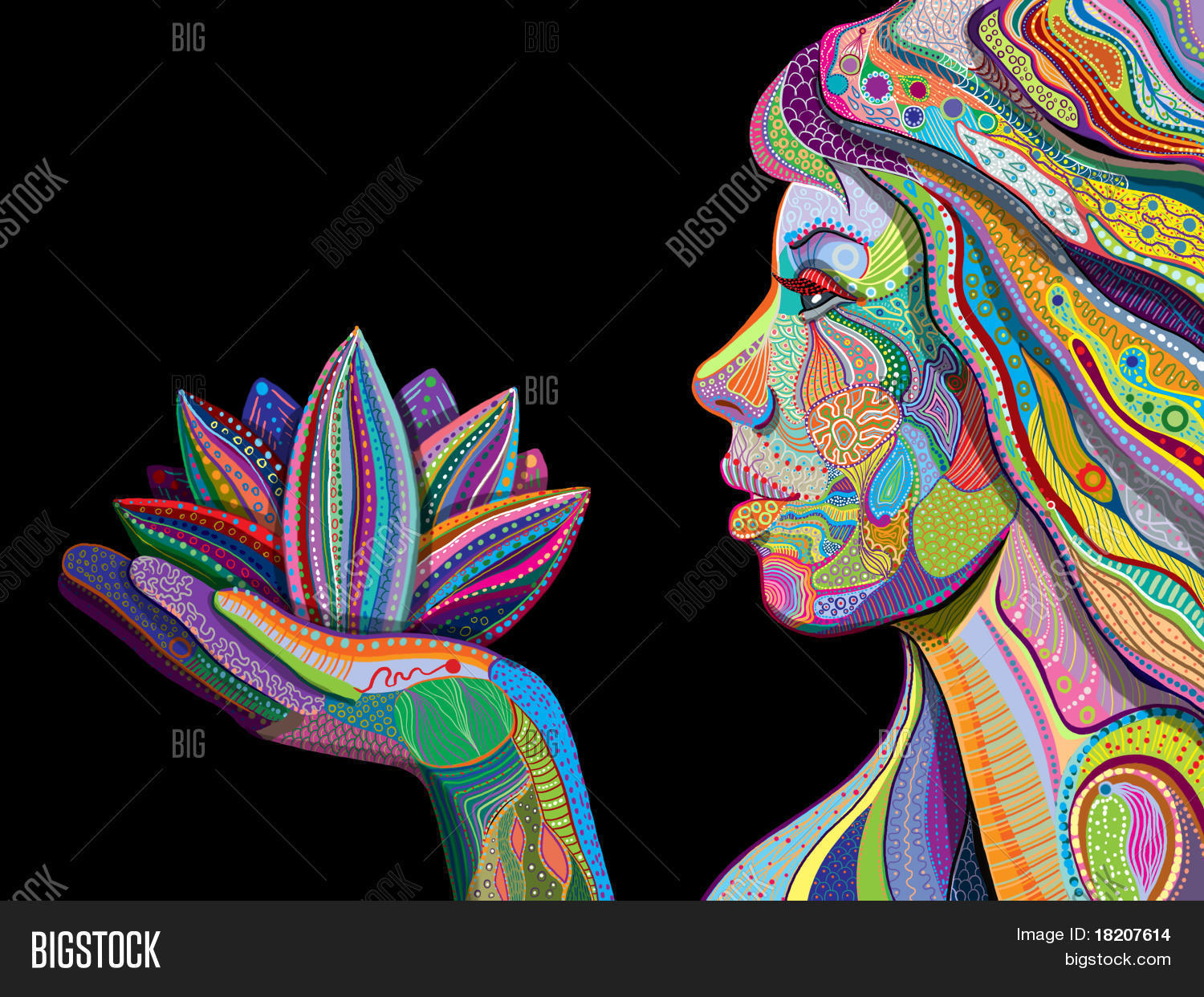 hight resolution of woman face with multicolored indian pattern holding lotus flower side view digital painting jpg 1500x1242 black