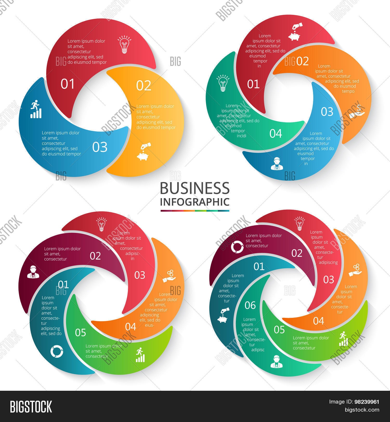 hight resolution of vector circle infographic template for cycle diagram graph presentation and round chart business concept with 3 4 5 and 6 options parts