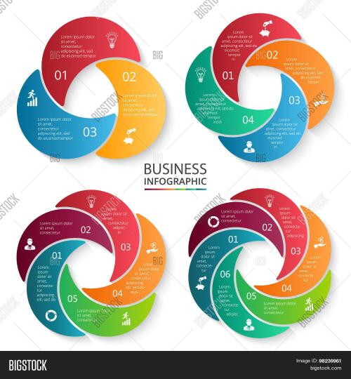 small resolution of vector circle infographic template for cycle diagram graph presentation and round chart business concept with 3 4 5 and 6 options parts