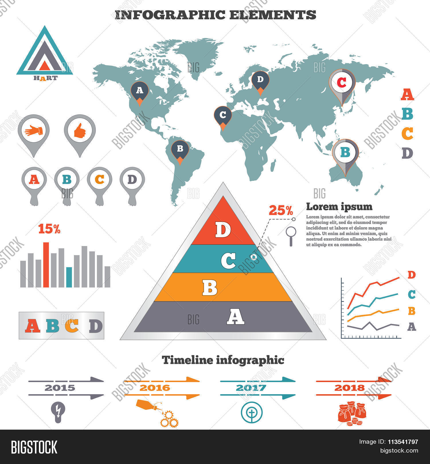 hight resolution of infographics elements set pyramid chart world map graphics tags and marks timeline diagram icons four option banner vector