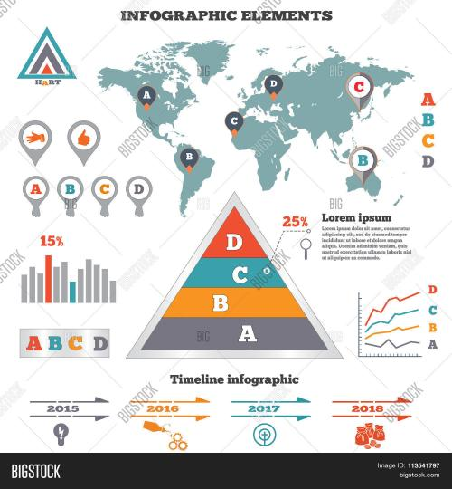 small resolution of infographics elements set pyramid chart world map graphics tags and marks timeline diagram icons four option banner vector