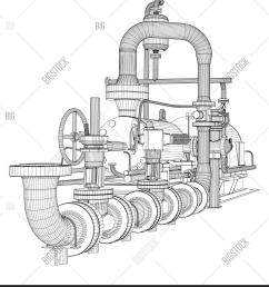 wire frame industrial pump 3d rendering isoalted on white background [ 1314 x 1620 Pixel ]
