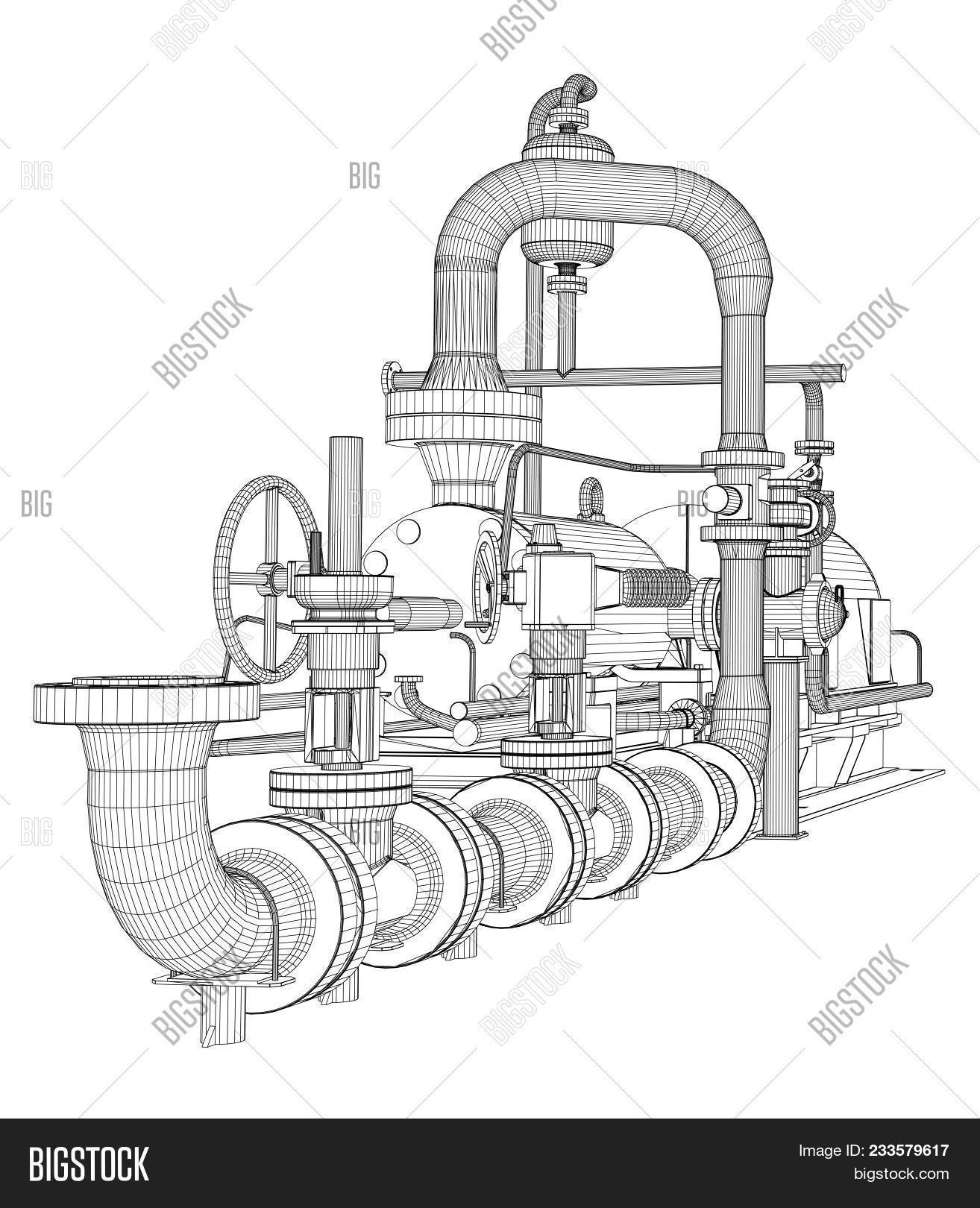 hight resolution of wire frame industrial pump 3d rendering isoalted on white background