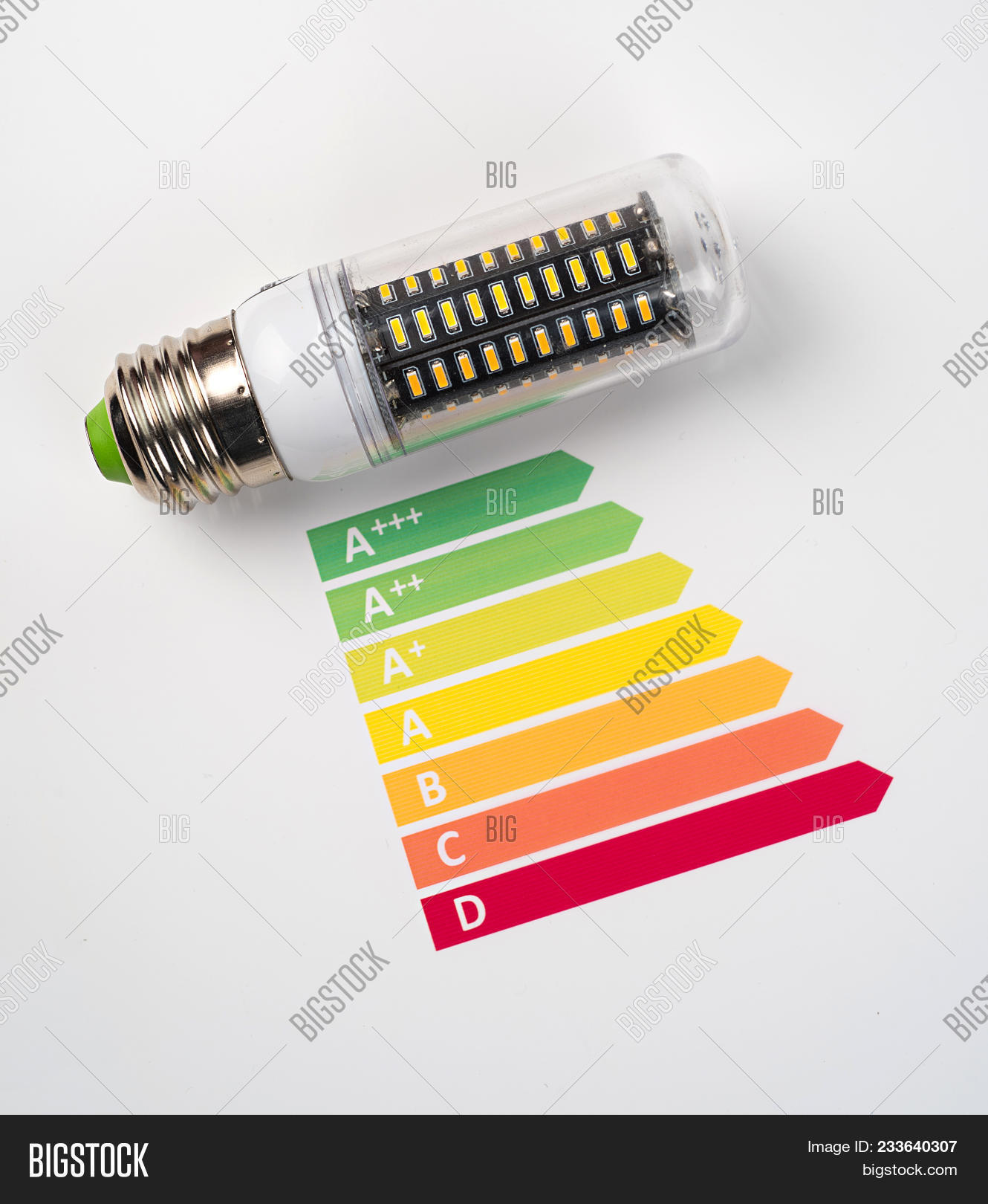 hight resolution of energy efficiency concept with energy rating chart and led lamp on white background